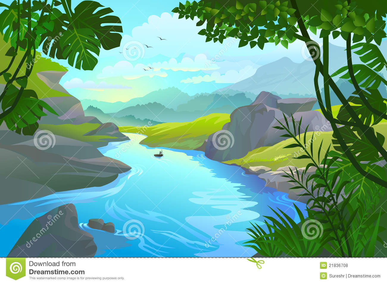 River Clipart Boat By A Mountain River-River Clipart Boat By A Mountain River-14