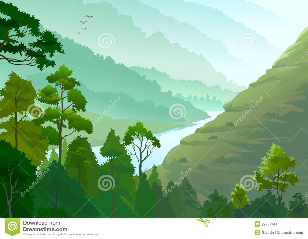River Flowing through Amazon  - Amazon Clipart