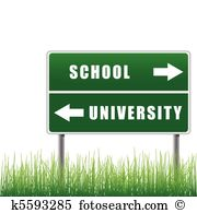 Roadsign school university.