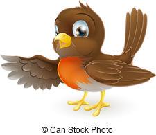 Robin Pointing Illustration - A Sweet Li-Robin Pointing Illustration - A sweet little Robin standing.-13