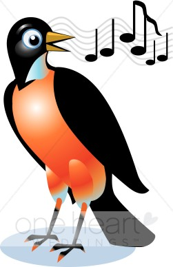 Singing Red Robin Clipart