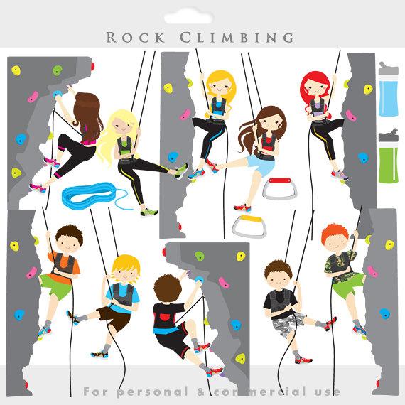 Rock climbing clipart - rock climbing clip art, sport, health, fitness, kids, mountain climbing, digital, for personal commercial use | Kid, ...