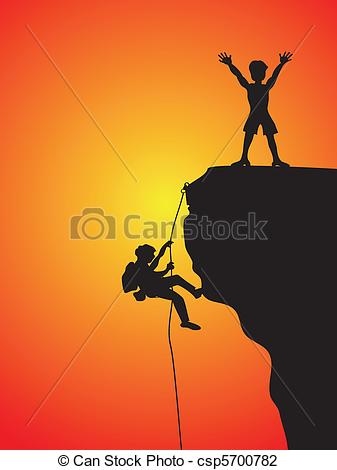 ... rock climbing - two climbers climbing the cliff