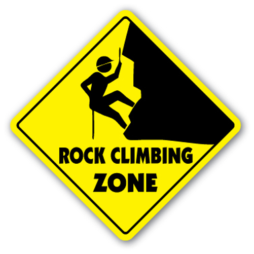 Rock Climbing Zone Sign Xing Gift Novelty Clips Ropes Supplies Gear