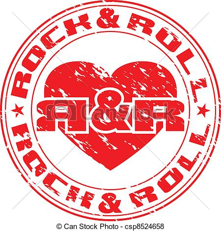 ... rock n roll - Vector image of an impress of seal with heart... ...