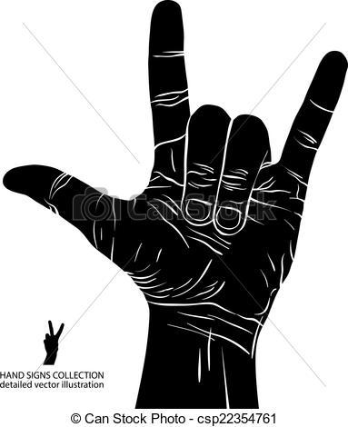... Rock on hand sign, rock n roll, hard rock, heavy metal,.