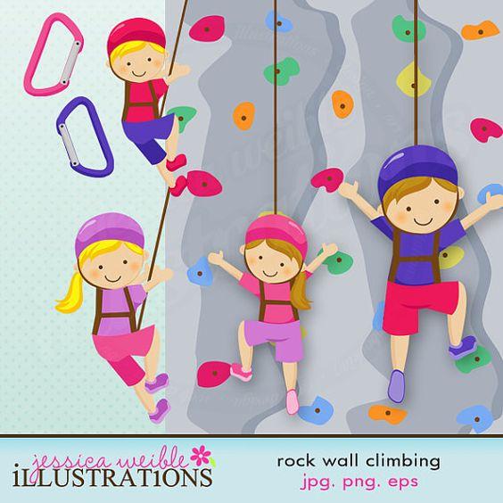 Rock Wall Climbing Cute Digital Clipart for Card Design, Scrapbooking, and Web Design -