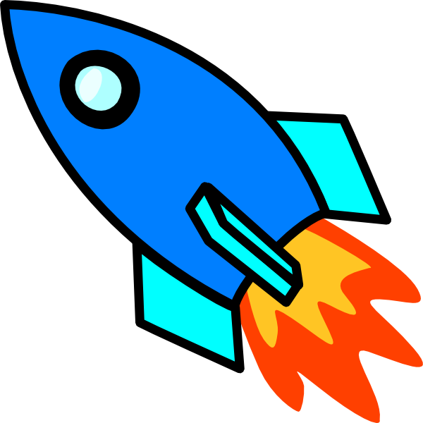 Blue Cartoon Rocket Clipart u