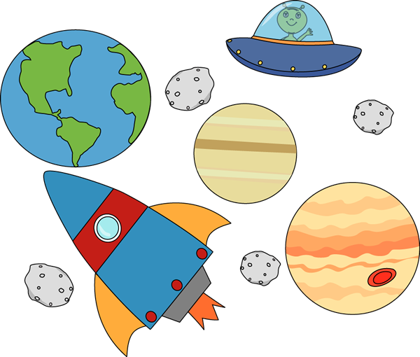Rocket and UFO Flying Through - Space Clip Art