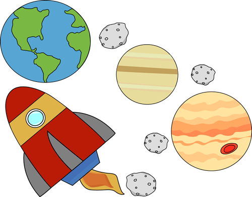 Rocket Flying Through Outersp - Space Clip Art