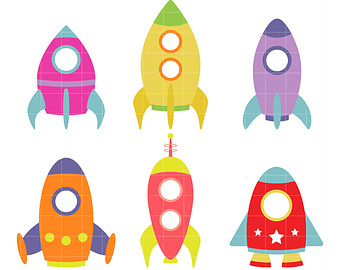 Rocket Ships Clip Art For Scrapbooking C-Rocket Ships Clip Art for Scrapbooking Card Making Cupcake Toppers Paper Crafts-10