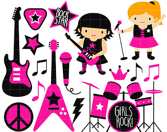 RockStar Girl Band Digital Clip Art For -RockStar Girl Band Digital Clip Art for Scrapbooking Card Making Cupcake Toppers Paper Crafts-17