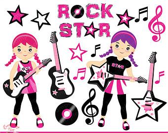 Rockstar Girls Clipart Set - Rockstar Clipart