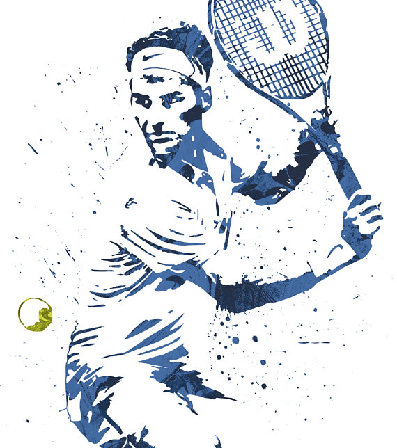 Roger Federer Tennis Poster, Art Print, Kids Decor, Watercolor Contemporary  Abstract Drawing Print, Man Cave