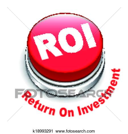 Clipart - 3d illustration of roi (return on investment) button. Fotosearch  - Search