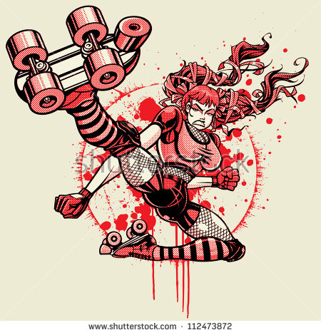 Roller Derby Girl - Flying Kick: Halftone Version. Vector illustration of a roller derby