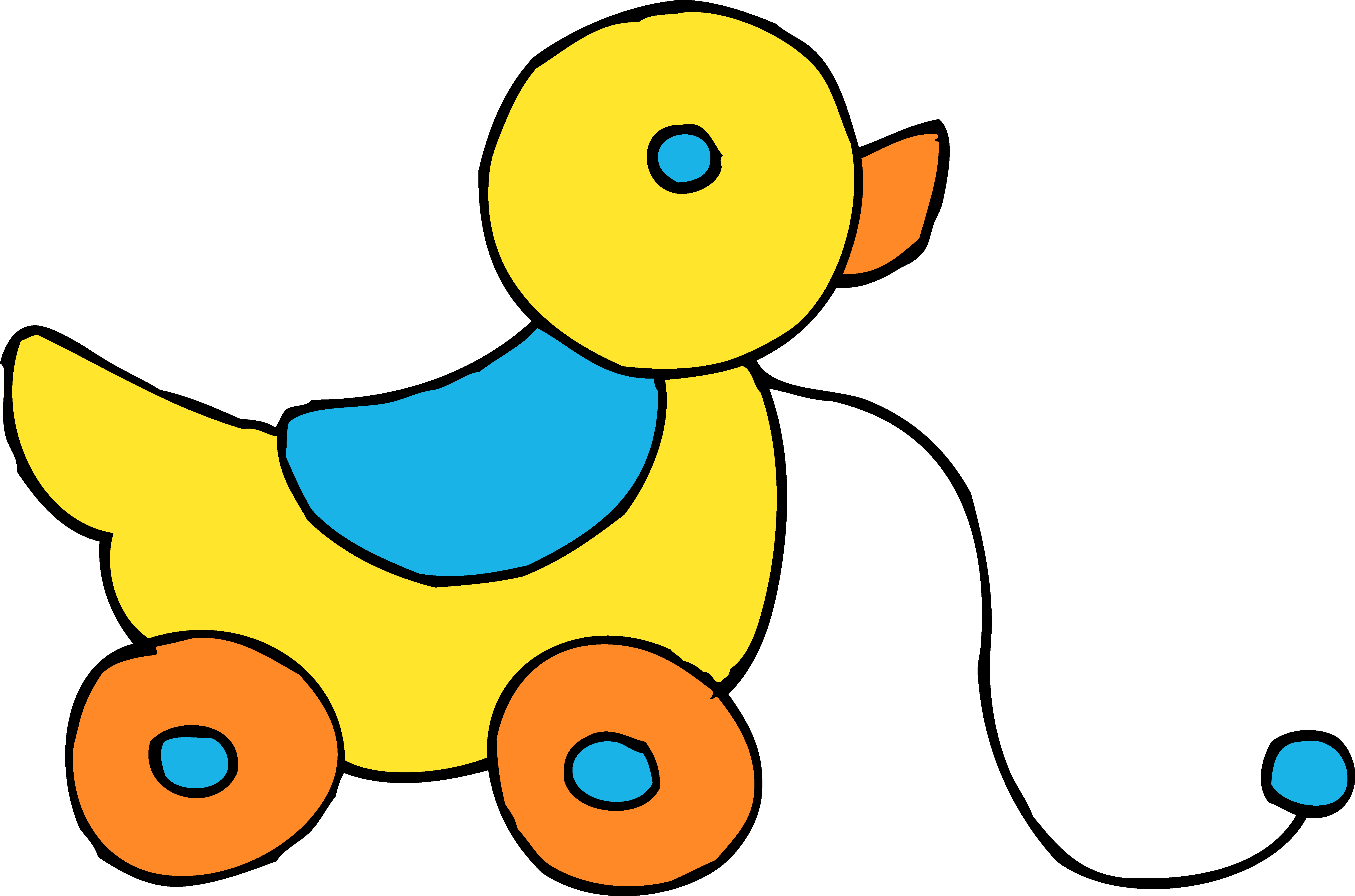 Rolling Yellow Ducky Toy Clipart - Free Clip Art
