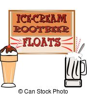 ... rootbeer floats and ice cream - background in retro style... ...
