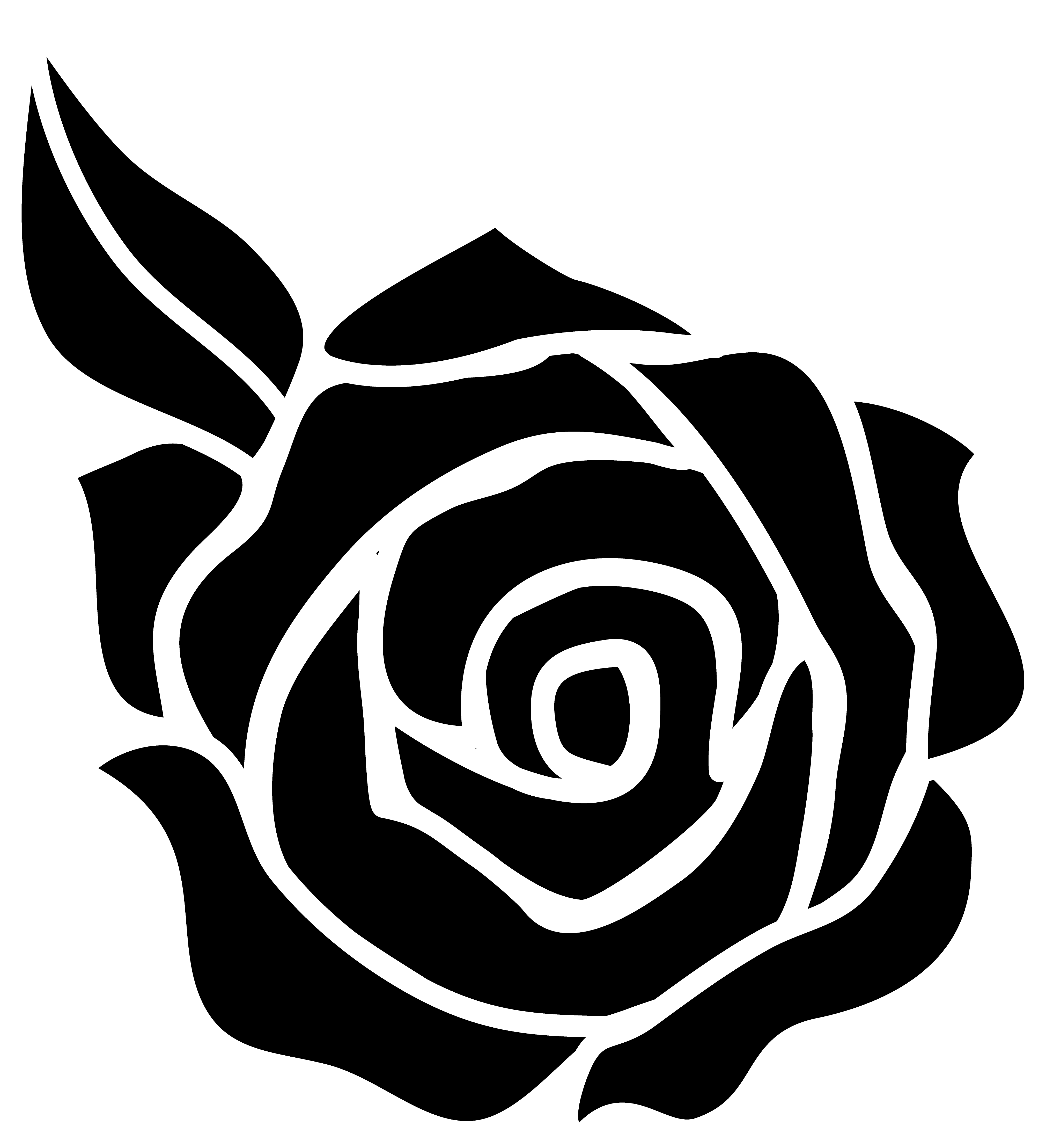 Rose black and white black an - Rose Clipart Black And White