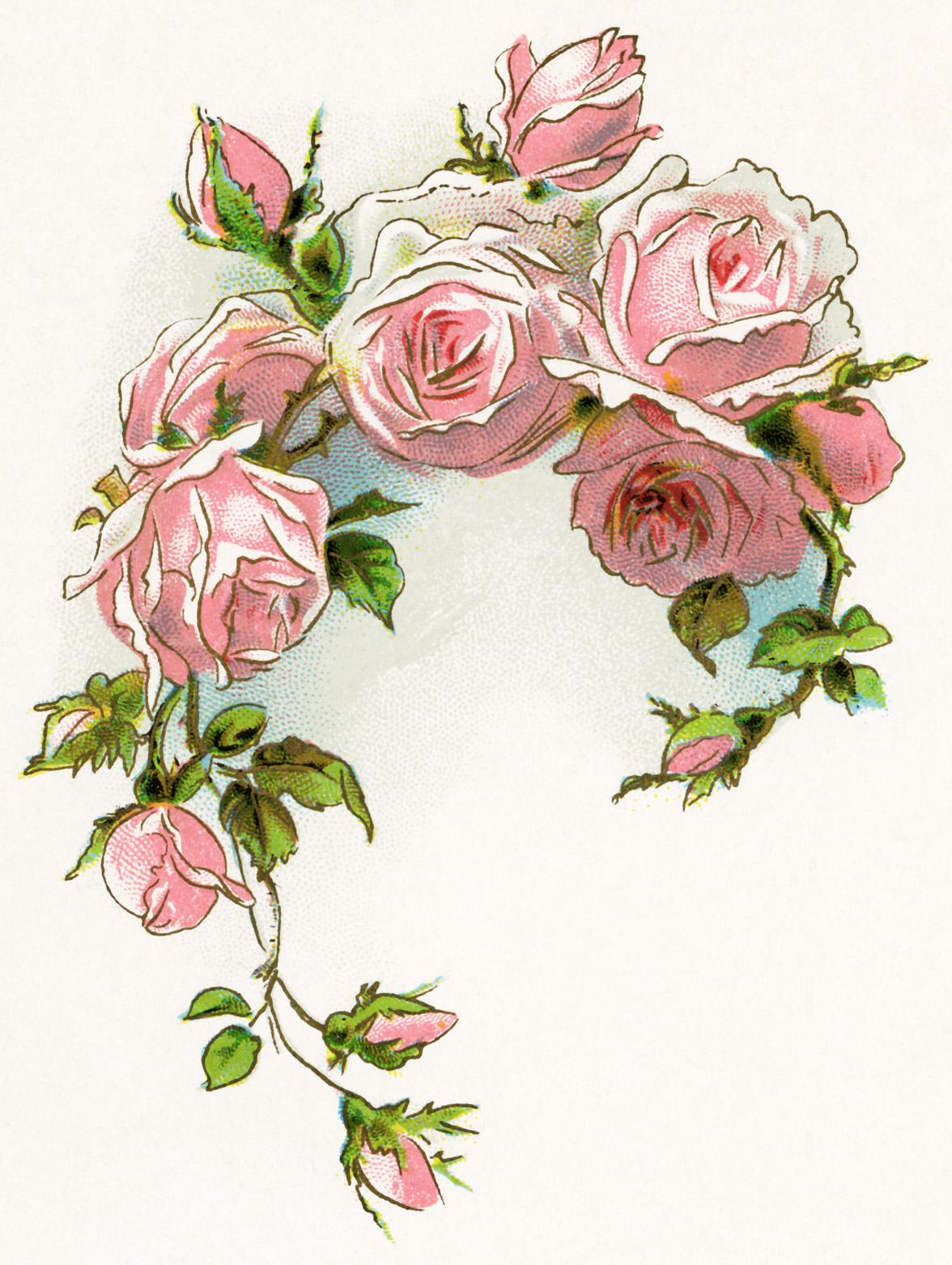 Vintage Flowers Clipart Clip