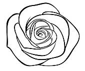 Rose u0026middot; black silhouette outline rose, isolated on white