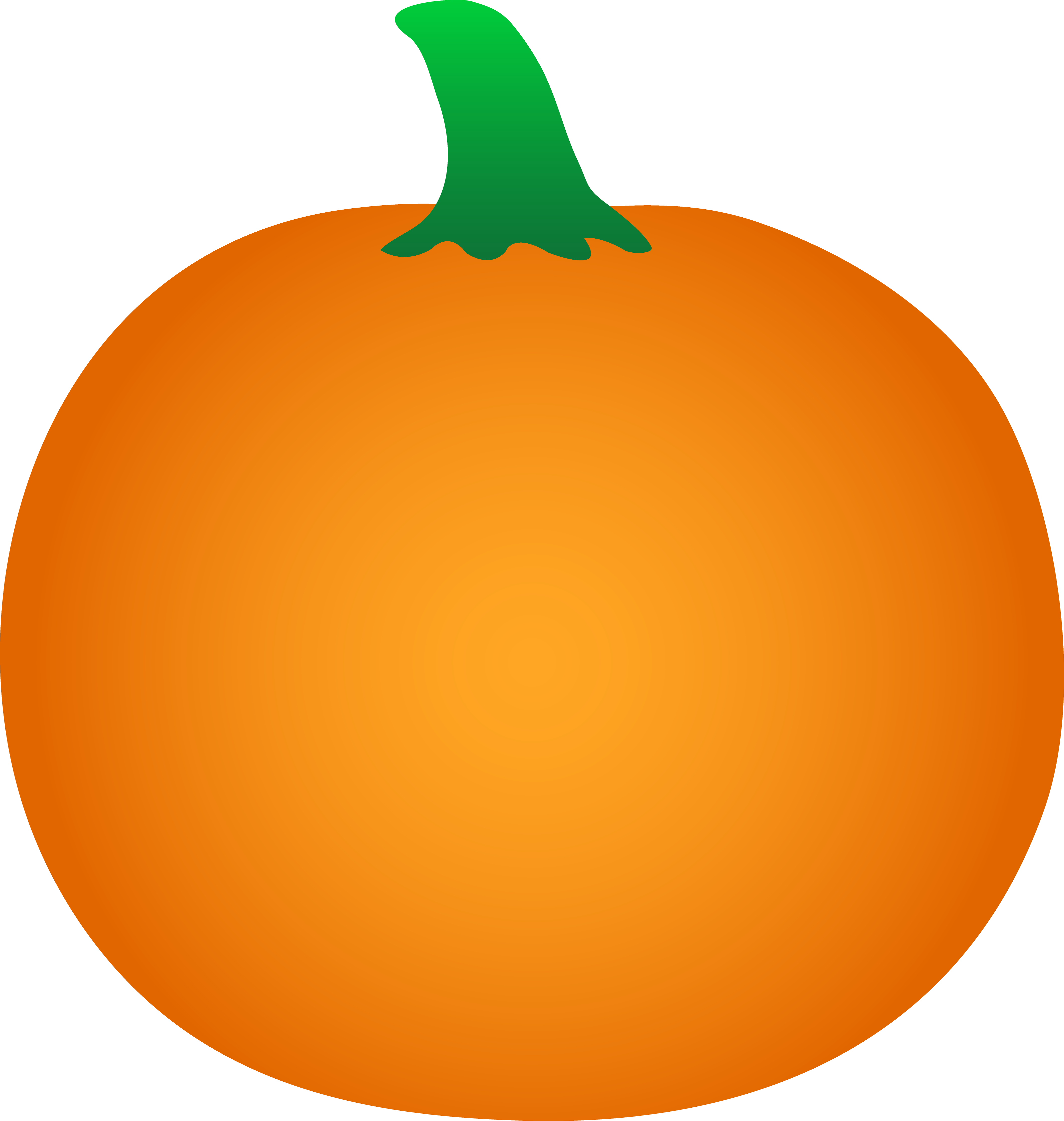 Round Orange Halloween Pumpkin - Free Clip Art