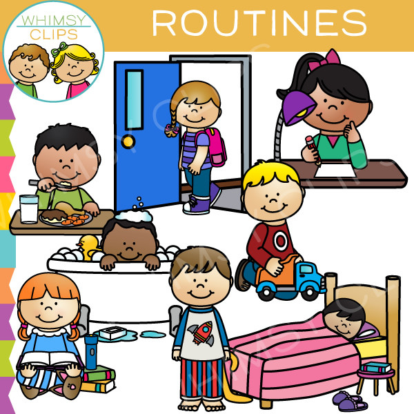 Routines Clip Art . - Daily Routine Clipart