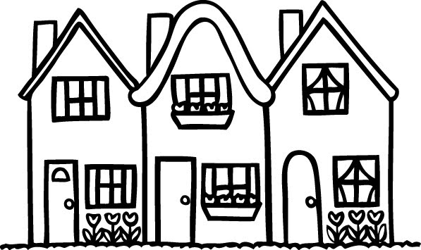 Row House Black And White Clipart Image Of Houses In A