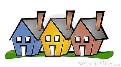 row of 3 houses in blue, .-row of 3 houses in blue, .-17