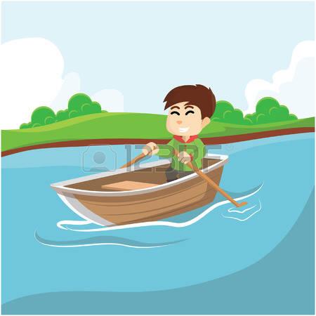 rowboat: Boy rowing boat Illu - Row Boat Clipart