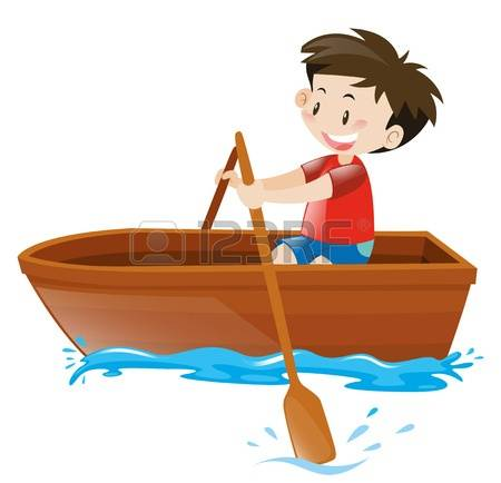 rowboat: Little boy in red shirt on rowboat illustration