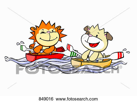 A cartoon lion and dog rowing - Rowing Clipart
