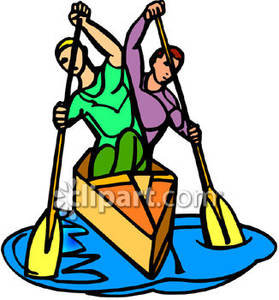 Men Rowing a Boat - Royalty Free Clipart Picture