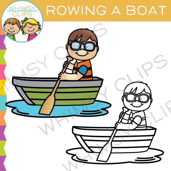 Rowing a Boat Clip Art