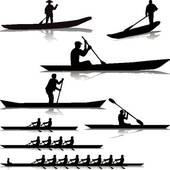 Rowing silhouettes collection; Various river rowers
