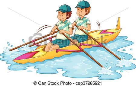 Two men rowing kayak - csp37285921
