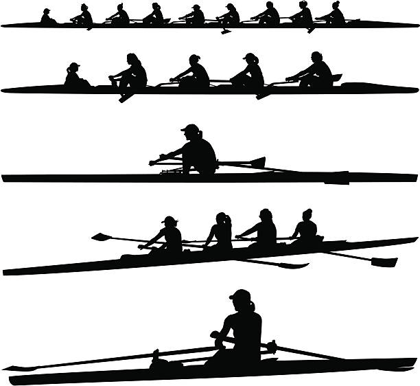 Womens Crew vector art illust - Rowing Clipart