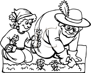 Royalty Free Clip Art Image: Black And W-Royalty Free Clip Art Image: Black and White Cartoon of a Girl Helping Her Grandma in the Garden-15