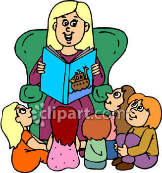Royalty Free Clip Art Image Daycare Woman Reading To A Bunch Of