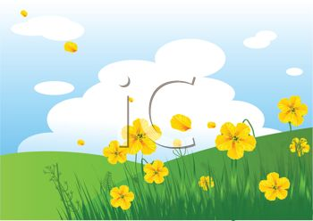 Royalty Free Clip Art Image Field Of Yellow Flowers And Rolling Hills