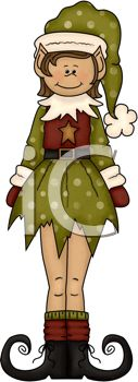 Royalty Free Clip Art Image: Rustic Christmas Elf for a Country Christmas
