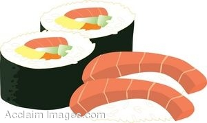 Royalty Free Clipart Illustration Of Sak-Royalty Free Clipart Illustration of Sake (Salmon) Sushi and Futomaki (finger Roll)-4