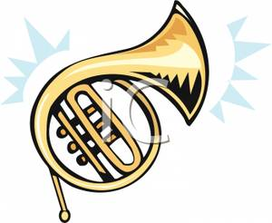 Royalty Free Clipart Image: A Brass French Horn