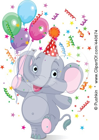 Royalty-Free (RF) Clip Art Illustration -Royalty-Free (RF) Clip Art Illustration of a Birthday Party Elephant With Confetti u0026middot; Www Clipartof ComRf ...-16