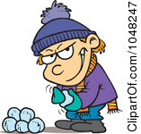 Royalty Free RF Clip Art Illustration Of A Cartoon Boy Gathering Snowballs For A Fight