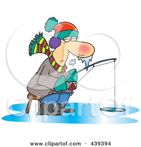 Royalty-Free (RF) Clip Art Illustration of a Cartoon Frozen Man Ice Fishing by Ron Leishman