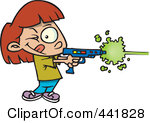 Royalty Free RF Clip Art Illustration Of A Cartoon Girl Playing Laser Tag