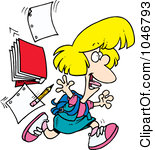 Royalty Free RF Clip Art Illustration Of A Cartoon Happy School Girl Leaving For Vacation