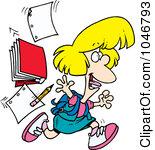 Royalty Free RF Clip Art Illustration Of-Royalty Free RF Clip Art Illustration Of A Cartoon Happy School Girl Leaving For Vacation-3