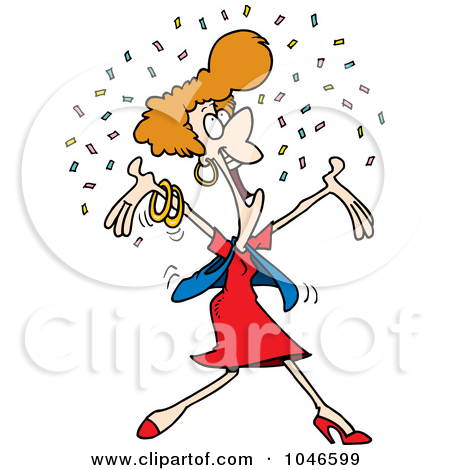 Royalty-Free (RF) Clip Art Illustration -Royalty-Free (RF) Clip Art Illustration of a Cartoon Happy Woman In Confetti by Ron Leishman-17